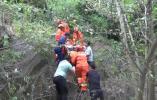 男子爬山摔伤,消防员用担架一步步抬下山