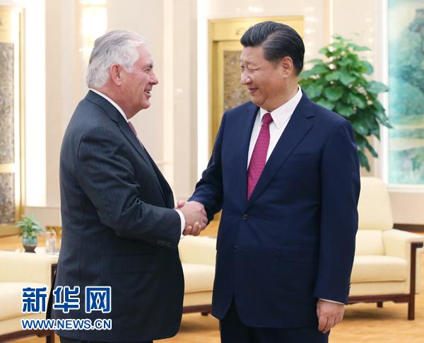 9月30日,国家主席习近平在北京人民大会堂会见美国国务卿蒂勒森。 新华社记者姚大伟摄