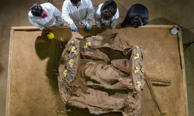 Archaeologists unveil a fancy carriage at cemetery