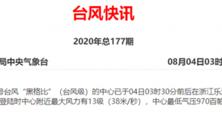 """台风""""黑格比""""在温州乐清沿海登陆 最大风力13级"""