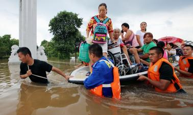 Huaibei inundated by flood due to Typhoon Rumbia in E. China